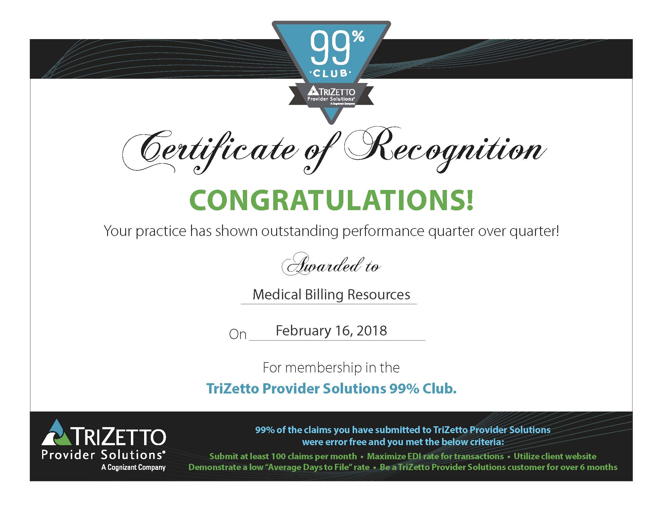 TriZetto Provider Solutions 99% Club